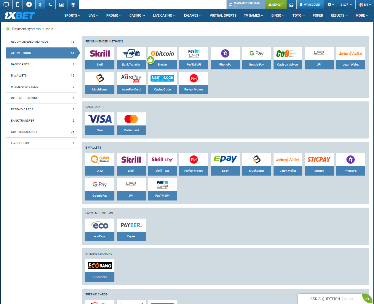 Payment Methods for India
